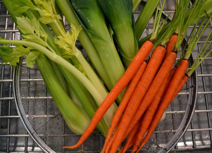 Aromatic vegetables for Creamless Mushroom Soup | labellasorella.com