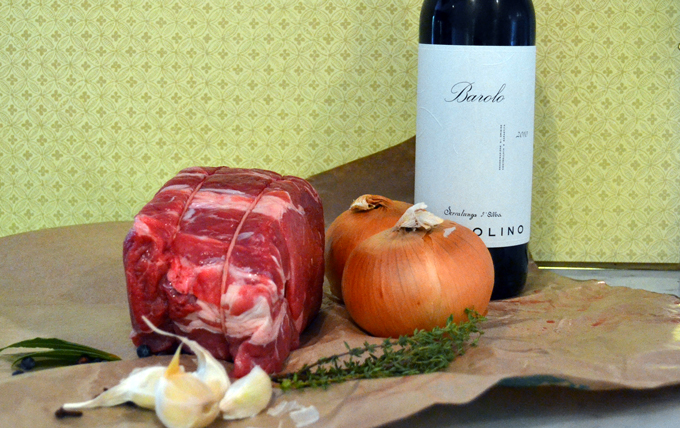 The basic marinade ingredients for Beef Braised in Red Wine or Brasato al Barolo | labellasorella.com