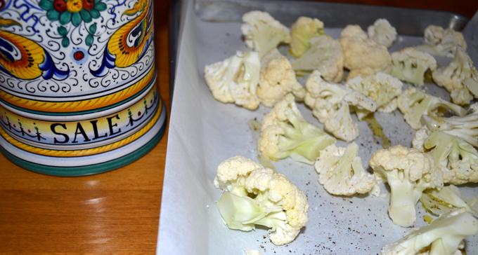 Seasoning the cauliflower before roasting   labellasorella.com