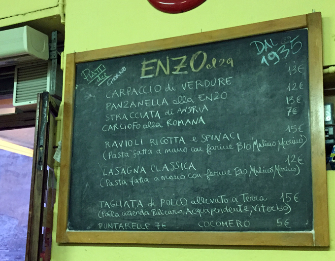Daily chalkboard specials at Da Enzo | labellasorella.com