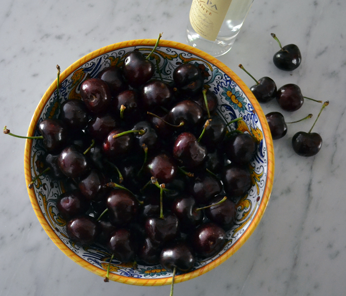 Freshly picked dark and luscious cherries   labellasorella.com