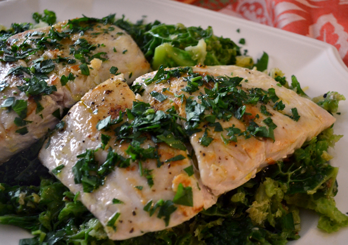 Seared Pacific Bass sitting on a bed of braised spring Savoy Cabbage | labellasorella.com