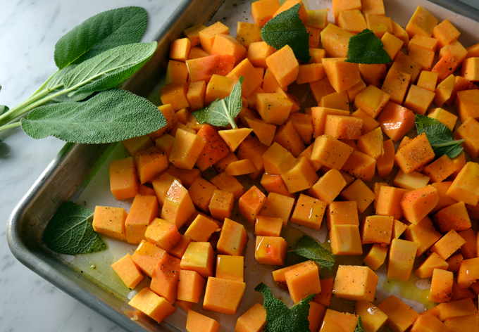 Cubed butternut squash ready to oven roast | labellasorella.com