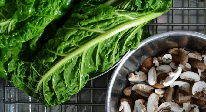 Preparing the vegetables for Gemelli with Greens & Mushrooms | labellasorella.com