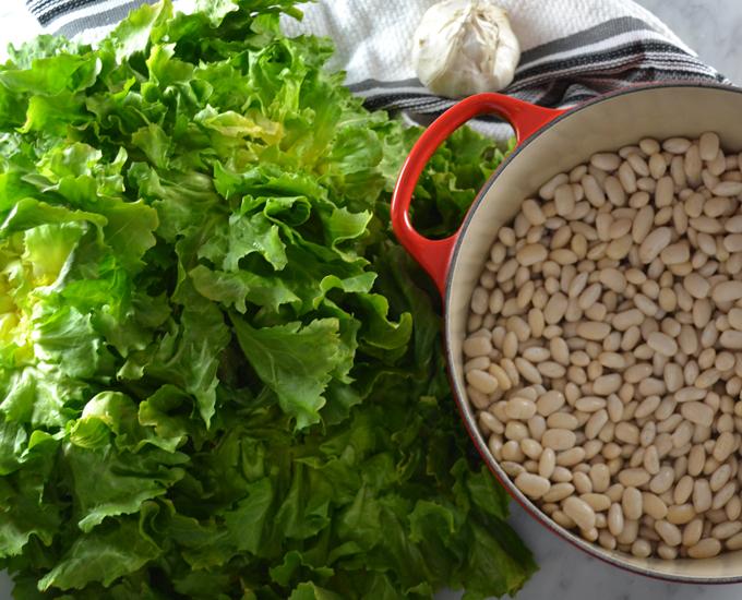 The soaked beans and fresh escarole   labellasorella.com