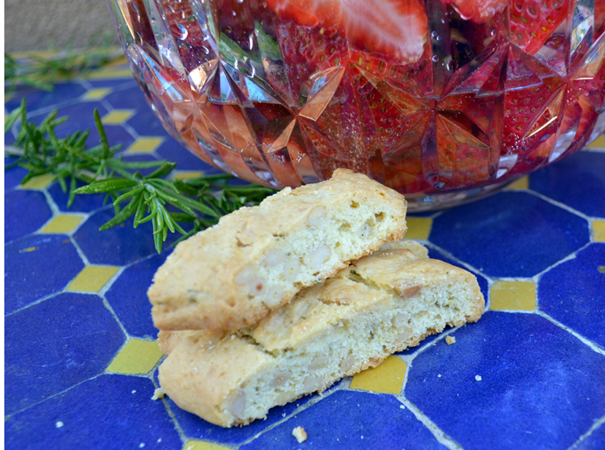 Olive Oil Biscotti Scented with Rosemary & Lemon paired with Strawberries & Prosecco   labellasorella.com