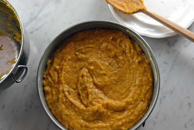 Spoon into the prepared pan and place in the oven   labellasorella.com