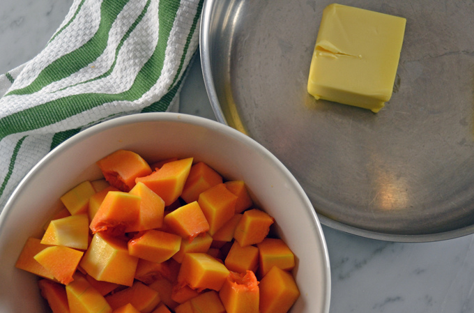 Slow cooking the butternut squash in an ample amount of butter | labellasorella.com
