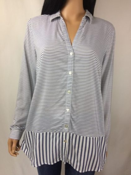 J Jill Blue Ivory V Neck Button Down Blouse Top Striped Long