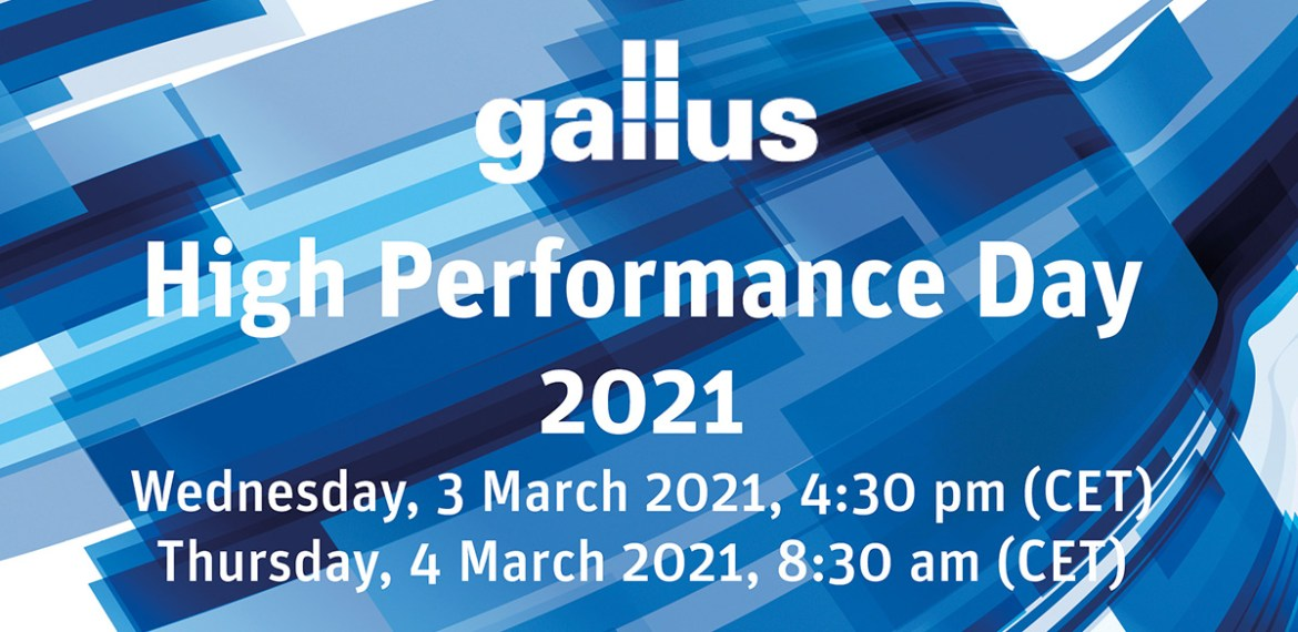 New virtual event: Gallus High Performance Day 2021 takes place in March
