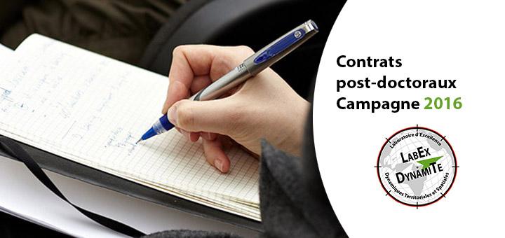 Campagne 2016 - Contrats post-doctoraux - Résultats