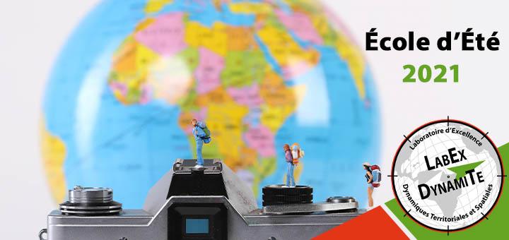 Visuel École d'Été 2021 - un globe devant un appareil photo