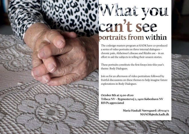 """invitation for event: """"What you can't see: Portraits from within"""""""