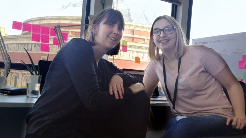 Kay and I (working as a team for our final project) and our desk and view over the Royal Albert Hall