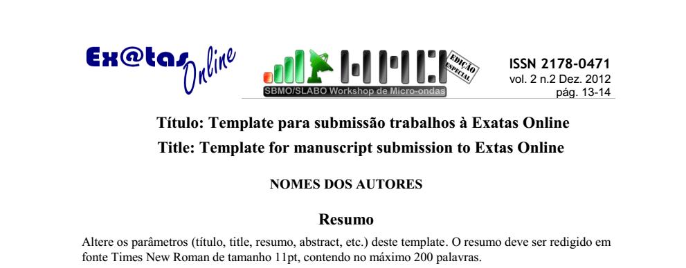 SBMO/SLABO WMO'17 - Disponível TEMPLATE para preparo do artigo para a EXATAS Online