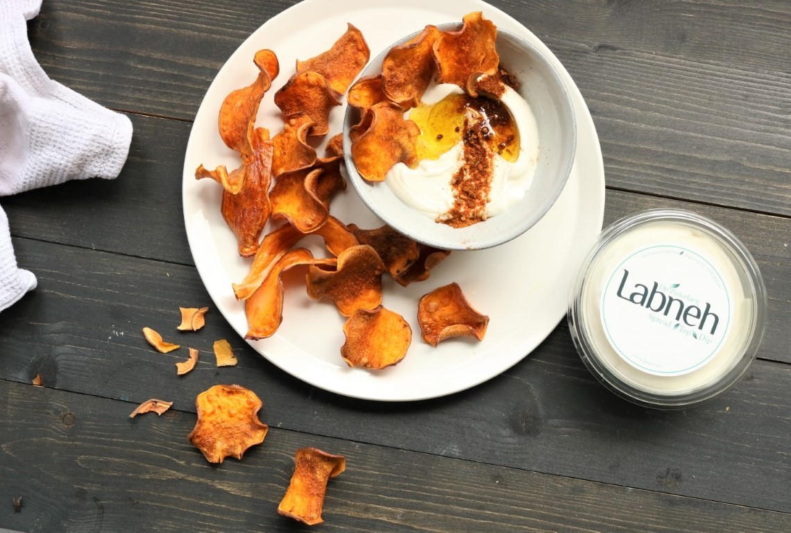 Chips of sweet potato, labneh