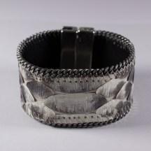 bracelet-en-cuir-de-python-gris-chaine-plate-aech-cheli