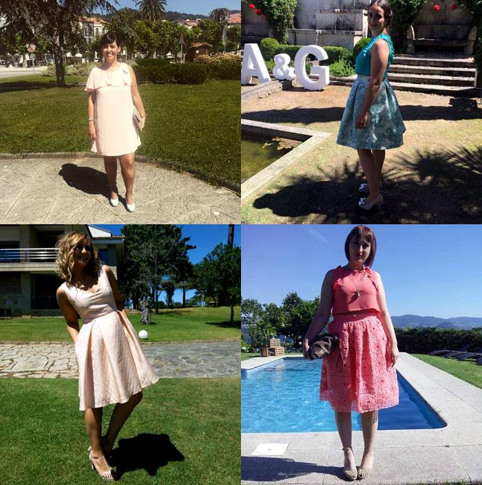 inspiracion invitada perfecta midi rosa vestido falda crop top