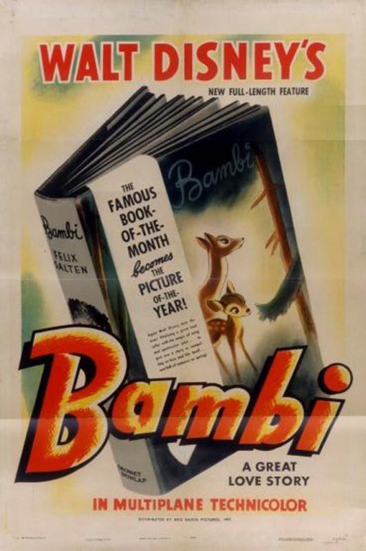 1942 Bambi Poster 532x800 Les affiches des 53 films Disney de 1937 à 2013 design cinema 2 art