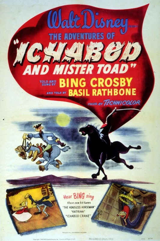1949 The Adventures of Ichabod and Mister Toad Poster 533x800 Les affiches des 53 films Disney de 1937 à 2013 design cinema 2 art