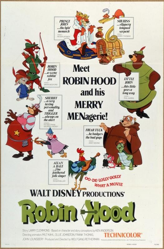 1973 Robin Hood Poster 526x800 Les affiches des 53 films Disney de 1937 à 2013 design cinema 2 art