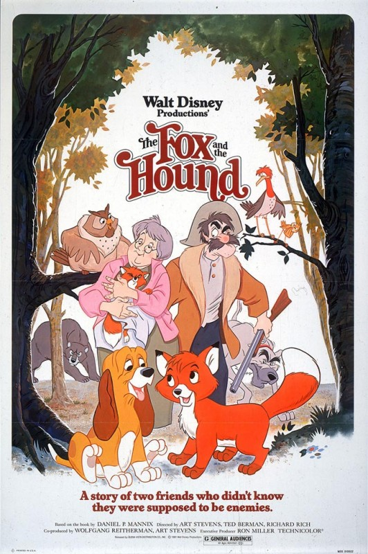 1981 The Fox and the Hound Poster 532x800 Les affiches des 53 films Disney de 1937 à 2013 design cinema 2 art
