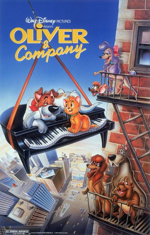 1988 Oliver and Company Poster 511x800 Les affiches des 53 films Disney de 1937 à 2013 design cinema 2 art