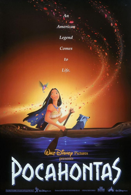 1995 Pocahontas Poster 535x800 Les affiches des 53 films Disney de 1937 à 2013 design cinema 2 art