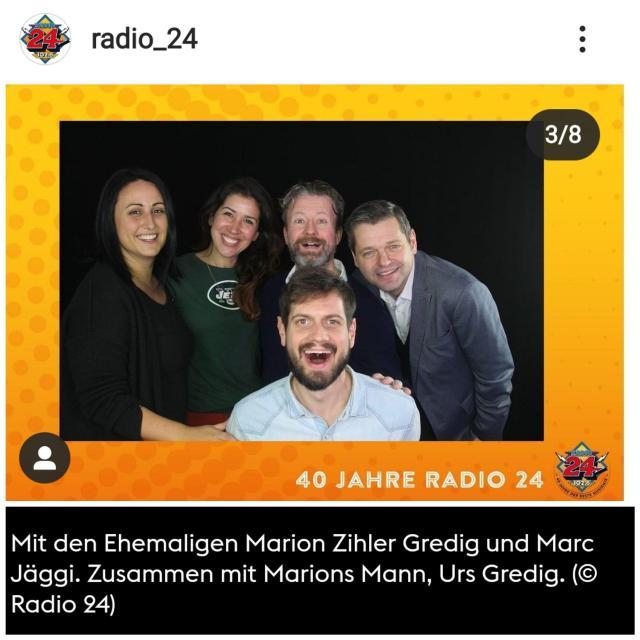 ehemalige radio24 moderatoren marion zihler gredig, marc jäggi und urs gredig im uufsteller als gast
