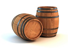 two wine barrels isolated on the white background