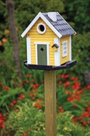 casa de pájaros amarilla diy hecho a mano