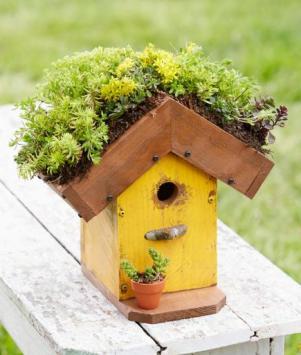 Casa de pájaros con techo de flores diy hecho a mano