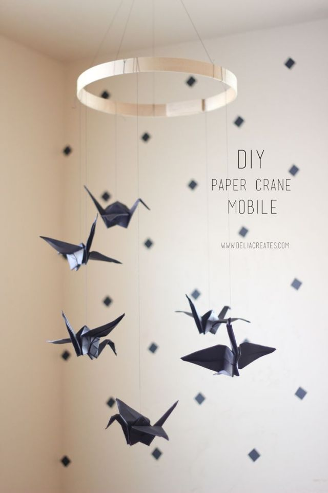 Móvil carrusel grullas origami