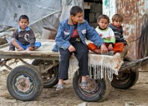 Palestinian children in a refugee camp