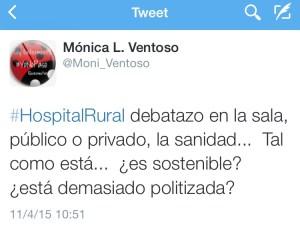 Tweet sobre el debate en #HospitalRural