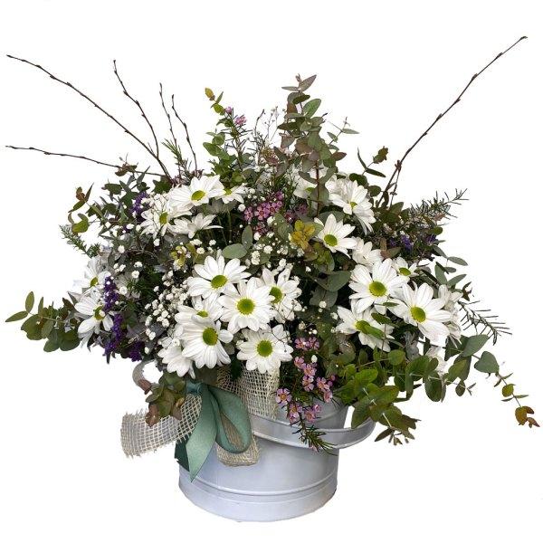 centro de flores dama blanca