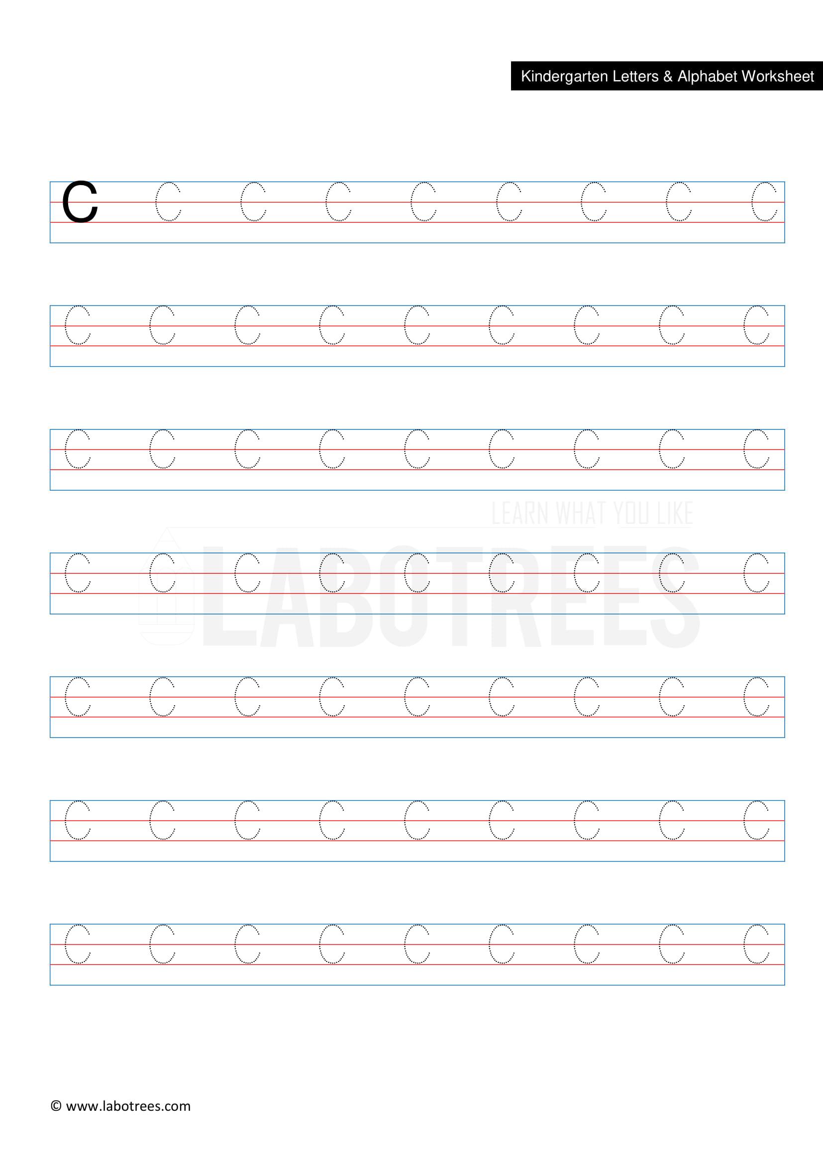 Worksheet Of Letter C Uppercase Free Download