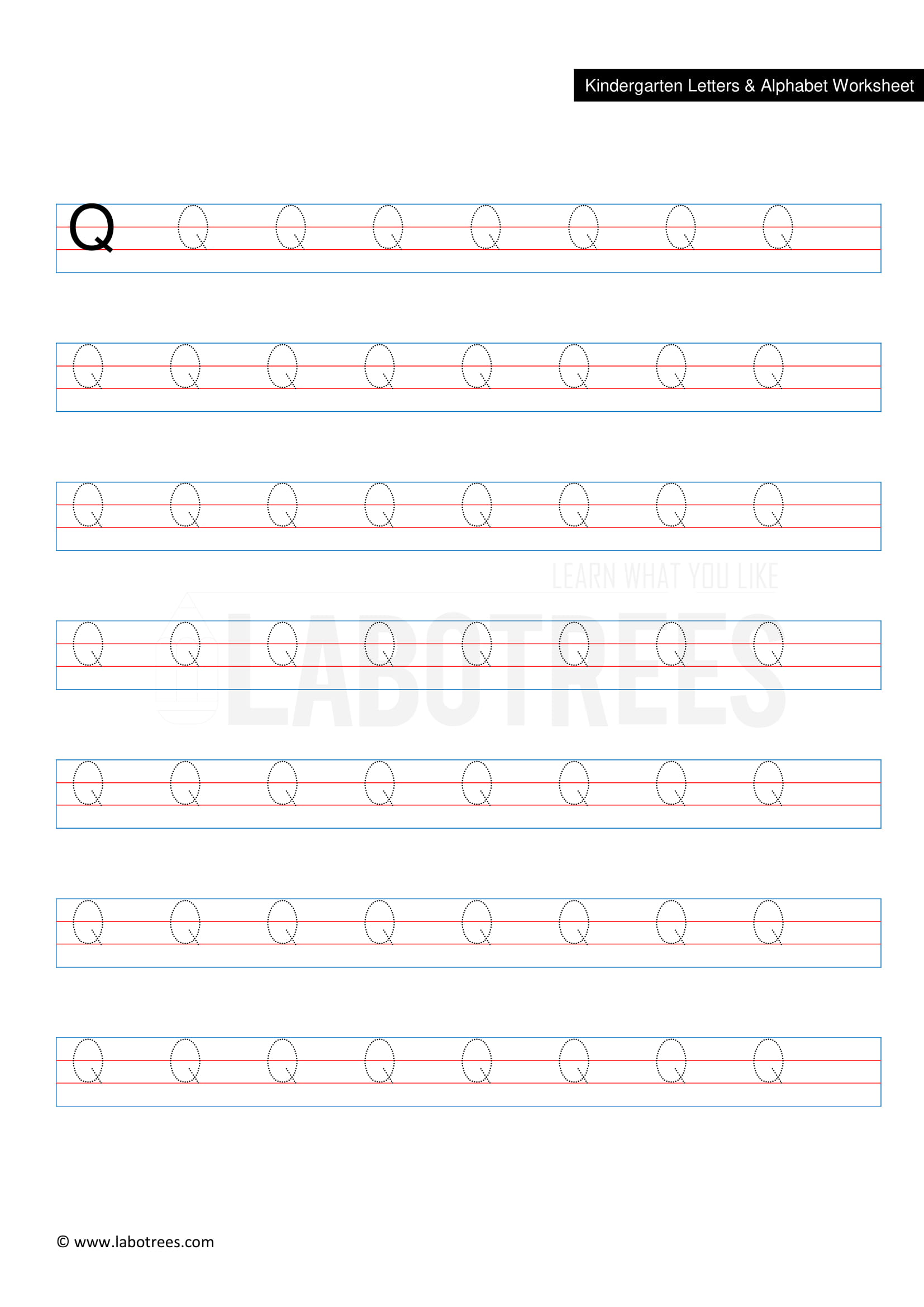 Worksheet Of Letter Q Uppercase Free Download