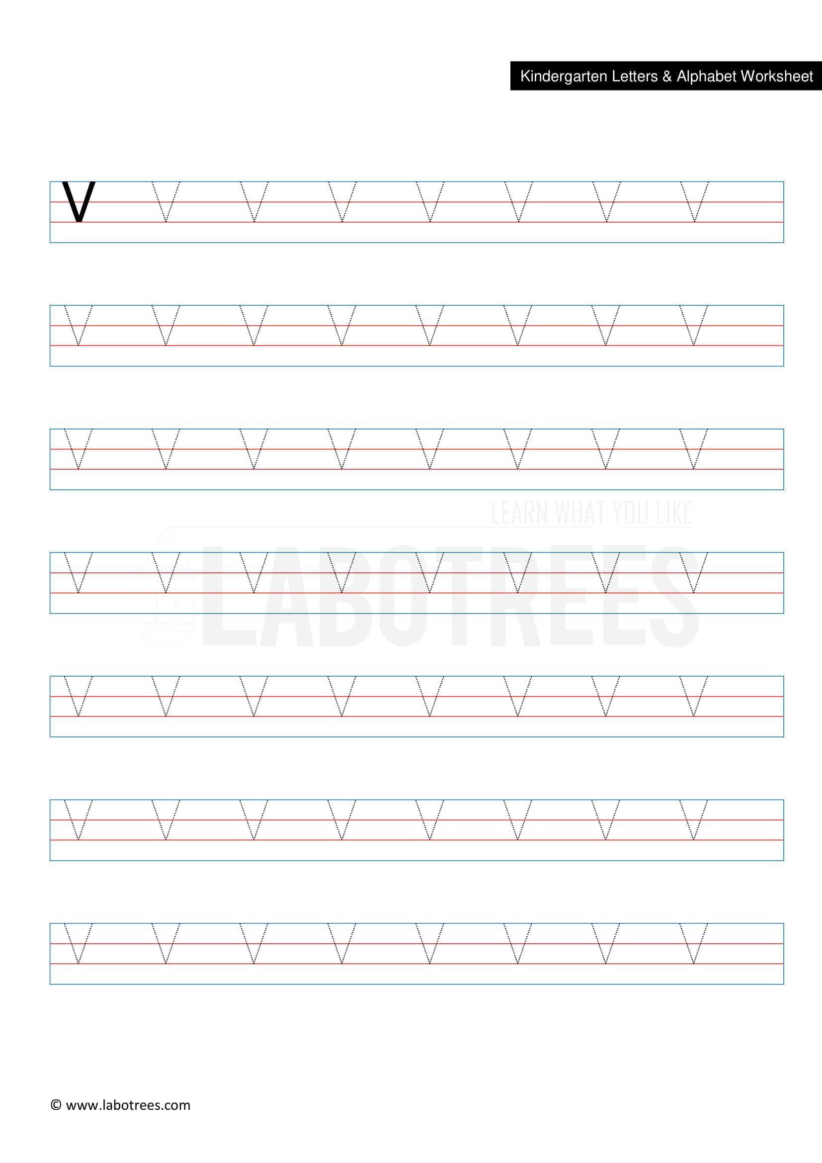 Worksheet Of Letter V Uppercase Free Download