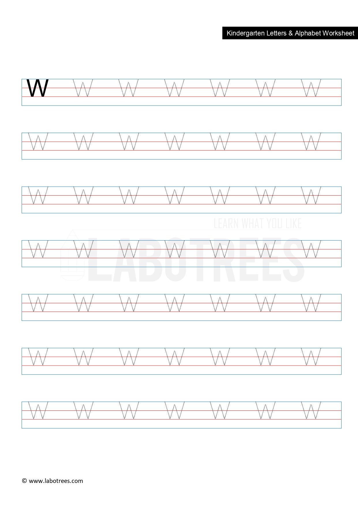 Worksheet Of Letter W Uppercase Free Download