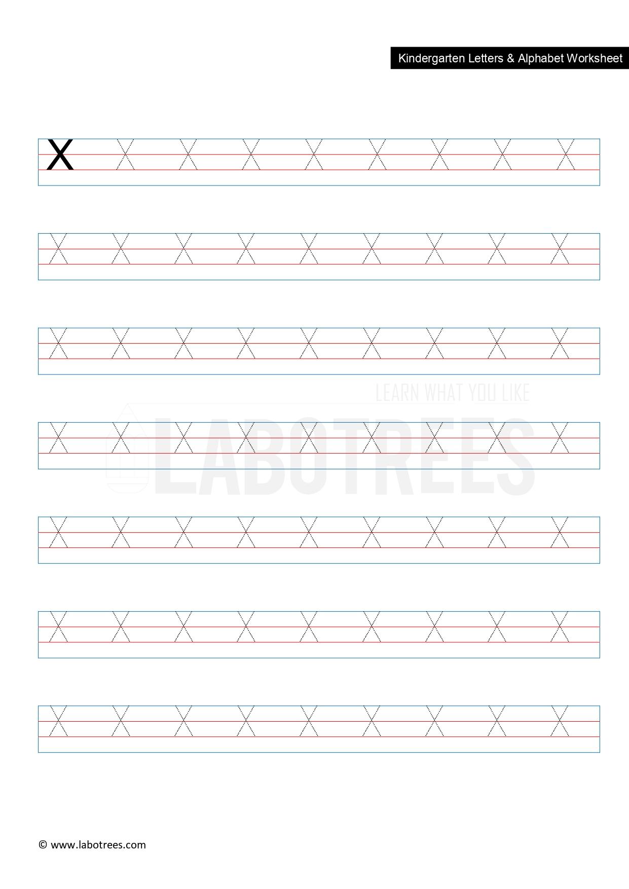 Worksheet Of Letter X Uppercase Free Download