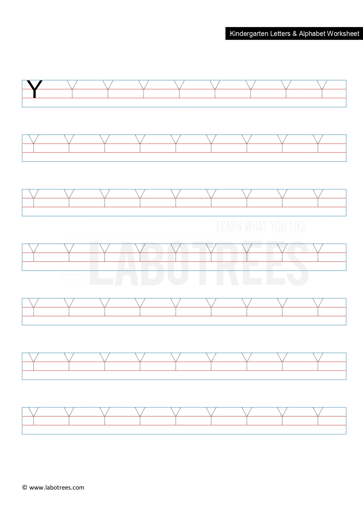 Worksheet Of Letter Y Uppercase Free Download