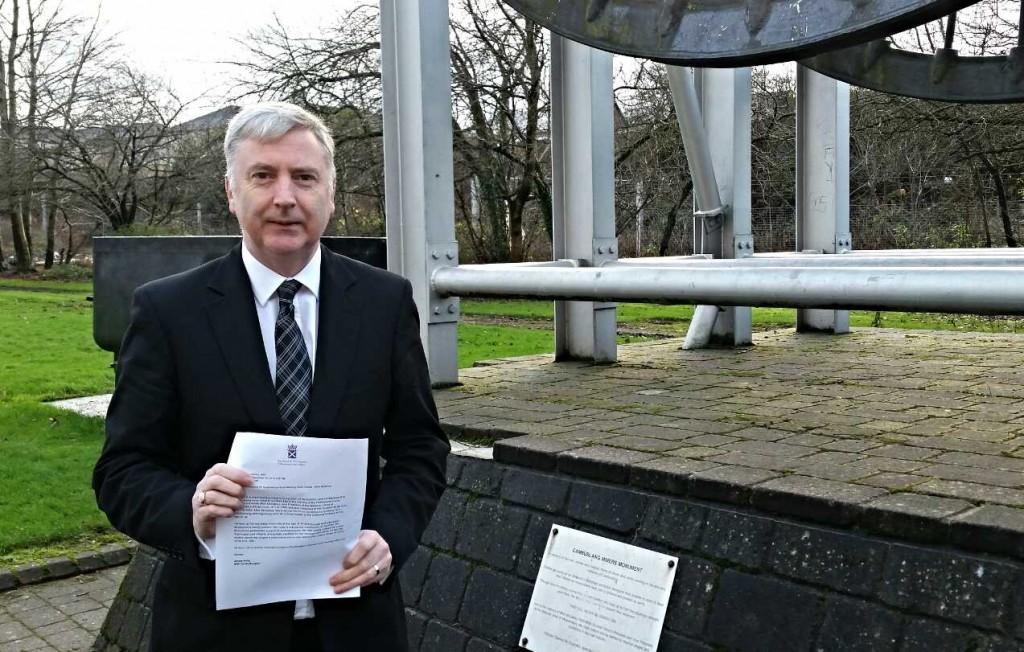 James Kelly MSP at the Mick McGahey memorial in Cambuslang.