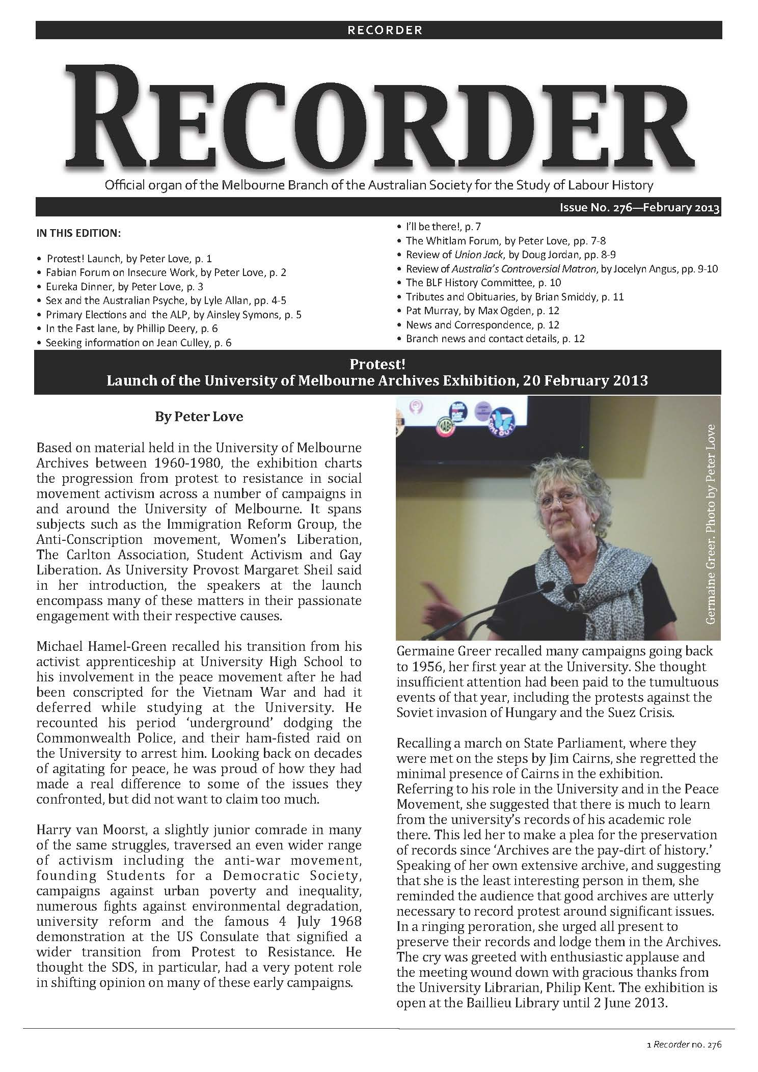 Recorder: newsletter of the Melbourne Branch - LABOUR HISTORY MELBOURNE