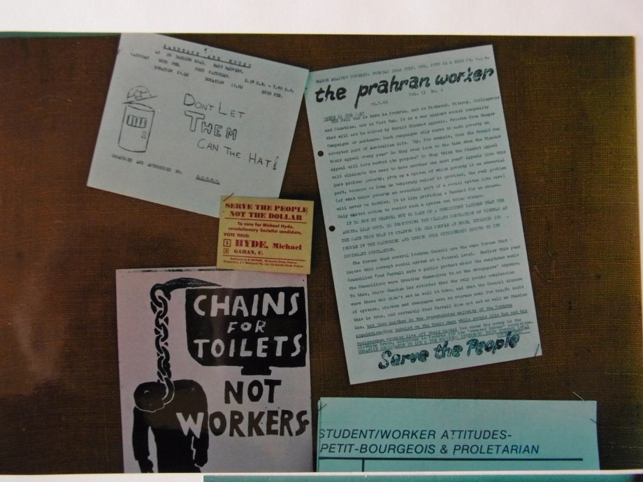 Material produced at The Bakery for the 'Prahran Worker' campaign 1969