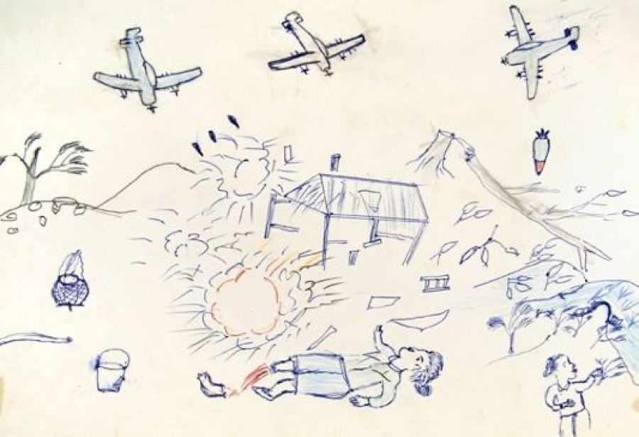 'Illustration drawn by a Laotian child refugee who experienced American bombing during the Secret War in Laos, from Branfman's Voices from the Plains of Jars (1972)', via http://peacehistory-usfp.org/laos-cambodia/