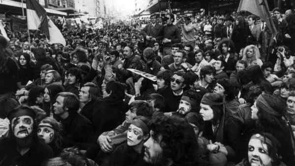 Protesters on Bourke Street 8 May 1970. Picture: Herald Sun.