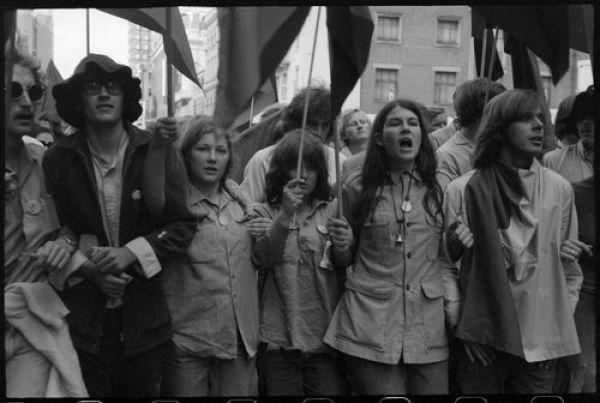 Garner, Grahame, 1928-2015 (1970). Max Hughes, Carla Harvey, Anne Berquier, and Sadie Rowbotham at Moratorium demonstration, Brisbane, 1970. Grahame Garner Collection, F3400, Folder 20, item 11.