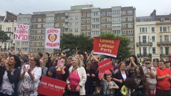 A 'Corbyn eye view' of those at the rally.