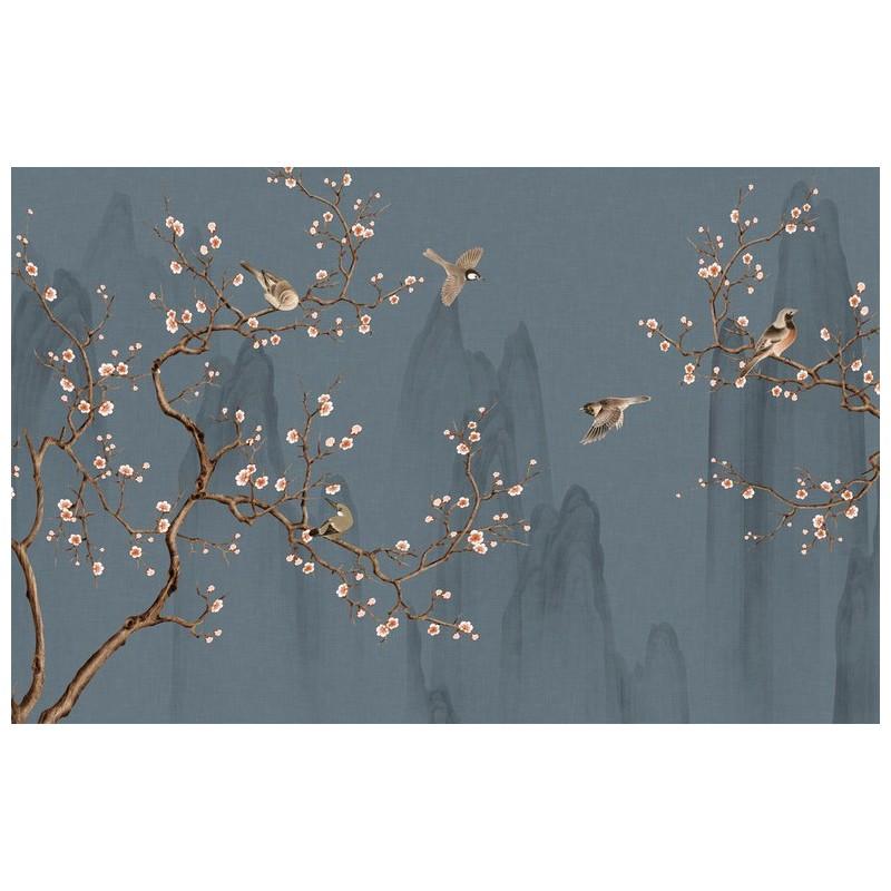 Peinture Japonaise Fleurs Et Oiseaux Tapisserie Zen